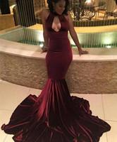Африканский Burgundy Velvet выпускного вечера Mermaid платья 2017 Sexy Кихол шейных выдалбливают Вечерние платья с длинными Sweep Поезд Vintage партии платья