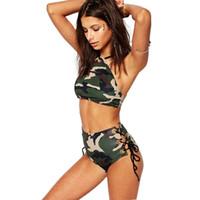 Brand New haute taille Bikinis femmes maillot de bain 2017 Sexy camouflage impression bandage Maillots de bain élégante été plage bikini Set ensembles de bain QP0213