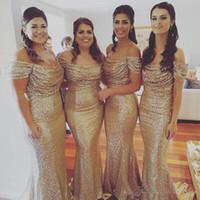 Золото Длинные платье невесты Русалка Sexy +2017 с плеча Блестки Ruched горничной честь платье Платье Para Madrinha De Casamento