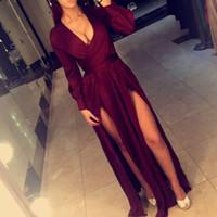 Sexy Burgundy Длинные рукава платья выпускного вечера линии V шеи Разделяет Вечерние платья Формальные платья партии Vestidos-де-Феста