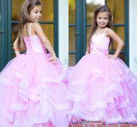 2017 Princess Pink Straps Flower Girls Dresses For Weddings ...