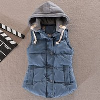 Women' s Cotton Hooded Down Vest Coats Female New Female...