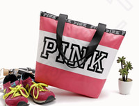 Rosa bolsas de letras mulheres impermeáveis sacos de compras Messenger Bag sacos de ombro grande capacidade listrada viagem duffle saco de praia 50pcs OOA1056