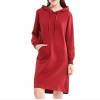 Hot selling Spring Midi Dresses Hooded Long Sleeve Pencil Dr...