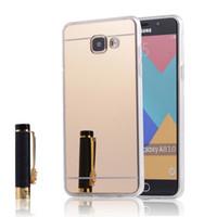 Зеркало задняя крышка для Samsung Galaxy A3 A5 A7 A8 Luxury 2016 Тонкий красоты Мягкий ТПУ Дело Гибридный блеск Bling Полный Body Shell