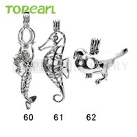 WG49 Bijoux Teboer 20pcs Vente en gros de serre-croûte Mixed Mermaid et Sea Horse and Bird Pendants Wish Cage