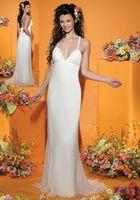 Пляж Платья невесты Длинные платья невесты Мода Оболочка Холтер Backless длиной до пола Белый Sexy Bridesmaids вечерние платья