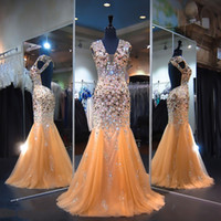 2017 Gold Prom Dresses Backless Mermaid Evening Gowns Cap Sl...