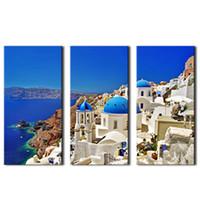 3 картины Холст картины Эгейского моря Приморская живопись картин, напечатанные на холсте с деревянными в рамке для домашнего декора стены в качестве подарков