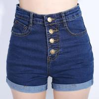 Fashion 4 Buttons Retro Elastic High Waist Shorts Feminino D...