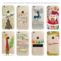 2016 Nouvelle Arrivée Christmas Tree Reindeer Santa Claus Style pour Iphone7 6 5 Soft Silicone Ultra mince Phone Case Back Cover Skin Shell Capa