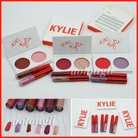 Kylie Valentine kyshadow duos Eyeshadow + Lipstick valentine Кайли Дженнер 2 Цветная палитра теней для глаз и блеск для губ Smooch Поцелуй меня Сладкое сердце