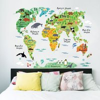 colorful animal world map wall stickers living room home dec...