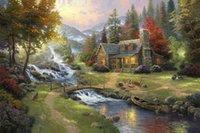 Обрамленный горный рай Томас Кинкейд масляной живописи, HD Art Print Оригинальный холст Wall Deco, Multi размер, Бесплатная доставка, Pr012