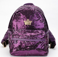Backpack sequin leather pink purle black girl school bag spe...