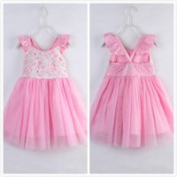 Girls Princess Party Dress Summer Lace Ruffles Backless Tutu...