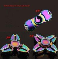 Arco iris Fidget Spinner colorido EDC tri spinner Fidgets Anti Stress arco iris Fidget mano Spinner Juguetes para adultos KKA1566