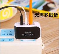 LED Light Triple 3USB ports 3.1A USB AC US UE cartouche de couleur murale prise de maison pour samsung s6edge plus pour iphone 6 plus 6s B-SC