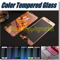 Miroir de placage coloré film de verre de protection tempéré écran pour iPhone 5S 6 6S 7 Plus avec forfait au détail