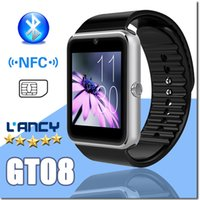 GT08 Bluetooth Smart Watch avec fente pour carte SIM et NFC Health Watchs pour Android Samsung et IOS Apple iphone Smartphone Bracelet Smartwatch