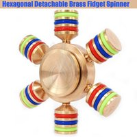 New Hexagonal Fidget Spinner Spinners à main Pure Brass CNC Six Angle Finger tips 6Heads Mains Rouleaux détachables DIY Nouveauté Rollver Toys DHL