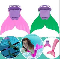 Sirena Monofin Mono Aletas Aleta Natación Pie Flipper Mermaid Tail Natación Pie de la aleta de pez cola para niños Chicas 3 color KKA1567