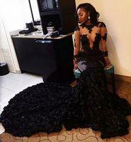 Великолепная Sexy 2017 года черный Вечерние платья Длинные рукава Jewel See Through Top Пром платья Складки Afraic суд поезд на заказ партии платье из