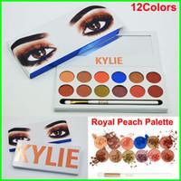 Есть в наличии Кайли Kyshadow The Royal Персик Palette Eyeshadow Дженнер 12color глаз Палитра теней с ручкой кисти Косметика Free DHL
