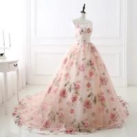 Аппликация Кружева платья Sheer шеи платье 2017 Свадебные платья бальные Печатный сад A- Line свадебное