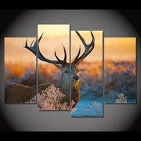 4 панели холст искусство холст живопись олень Buckhorn Wildland HD печатный стенной художественный плакат Home Decor изображение для гостиной XA082D