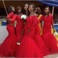Красный Плюс размер длинным рукавом Кружева Русалка Платья невесты Тюль арабский Гость фрейлины платье вечерних платьев для гостей свадьбы 2017 года