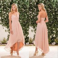 Дешевые Простой пляж розовый персик невесты платья Холтер шифон +2017 High Low Wedding Guest Носить платье партии горничной честь Gowns