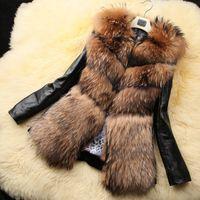 Revestimento casaco de mulheres de inverno quente de peles imitação de peles de raposa casaco jaqueta mulheres 2016 Europa e os Estados Unidos Revestimento de notícias Feminino F1