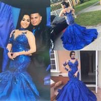2017 Royal Blue Русалка Вечерние платья высокого шеи Длинные рукава Illusion из бисера Пром платья с аппликацией назад Zipper сшитое партии платья
