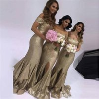 2018 Bling Bling Longa Sereia Vestidos de dama de honra Off Shoulder High Side Split Cheap Maid of Honor Dress Vestidos de festa de casamento