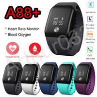 Bracelete de oxigênio de sangue inteligente A88 + Bluetooth 4.0 Bracelete de banda Monitor de sono de freqüência cardíaca Pedômetro Lembrete de chamada SmartBand para iPhone Android