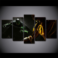 5 шт / комплект в рамке HD печатных Бэтмен Flash Man фильм картина стены искусства холст комнаты декор плакат холст Аннотация масляной живописи