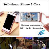 Para Iphone 7 Monopod Extendable Self Timer Soporte de iPhone de mano soporte de rotación sin barreras de 360 ° Control inalámbrico Bluetooth Temporizador