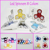 En Stock LED LIGHT Spinner à la main 2 modèle d'éclairage avec swith en off Fidget jouets spinner à doigts 8 couleurs Décomposition Anxiety Toys