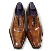 Men Dress shoes Oxfords shoes Custom Handmade shoes Square t...