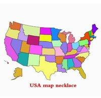 Mulheres Homens Aço Inoxidável jóias EUA mapa colar EUA Estado colares Pingente Oco Coração colar de Ouro Prata Ouro Rosa HHA911