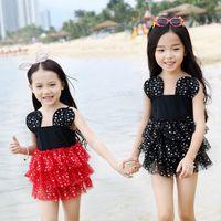 Everweekend Girls Cartoon Dots Tutu Swimwear One- pieces Red ...