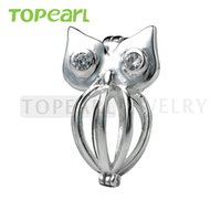 SWP10 Teboer Jewelry 5pcs Owl Cage 925 Sterling Silver Love Wish Pearl Pendentif