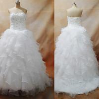 Элегантные 2016 года Свадебные платья из органзы с Sexy зашнуровать назад Аппликация Бисероплетение Ruffles юбка Длина пола Свадебные платья Dhyz 01