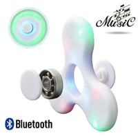 SH LED Fidget Spinner avec haut-parleur Bluetooth Handspinner LED Rainbow Light Luminous Hand Spinners Fidget Finger Toys Musique A-ZJ