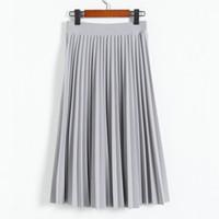 Hot Sale Spring all match chiffon skirt waist fold slim plea...