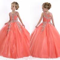 Новые 2017 года Маленькие девочки Pageant платья принцессы Тюль Sheer Jewel Кристалл бисера Коралловые Дети цветка девушки платья День рождения платья