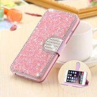 Luxe corps entier Bling Diamond Flip étui en cuir pour iPhone 5S 6 6S Plus Silk motif carte Slot Stand Holder Cover