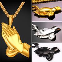 U7 The Praying Hands Collier Pendentif Collier Cadeau Frère Jaune Or Plaqué Chaîne En Acier Inoxydable Cadeau Parfait Collier Accessoires