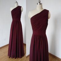 Burgundy One Shoulder Chiffon A Line Bridesmaid Dresses Long...